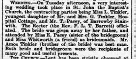 Report of the wedding of Lois Tinkler to T.Pacey, published Saturday, 18th April 1914. | Courtesy of the Grantham Journal