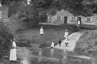From an old postcard, children at the ford on The Green, Bottesford, c.1900: Frances Baker may be one of them. | From the collection of the late Mrs Dorothy Beedham