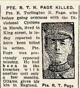 Pte. R.T.N. Page - Toronto Star Obituary, 5th February 1917