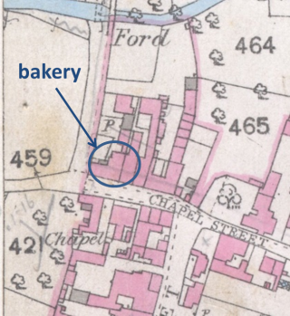 Part of the pre-1900 map showing the location of the bakery on Chapel St, Bottesford | Bottesford local history archive