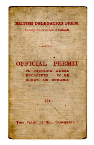 The outside of the Herbert Porter's permit for access to the Printing Works. | By courtesy of the family archive of Rosemarie Greenhalf.