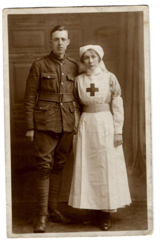 Sapper Porter and his wife Kathleen wearing the uniform of a volunteer nurse. | Courtesy of the family archive of Mrs Rosemarie Greenhalf.