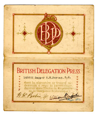 The inside of the Permit issued to Herbert Porter for access to the Printing Works. The date is not shown, but it is signed by Sapper Porter and by Major William Stanford, RFA. | By courtesy of the family archive of Rosemarie Greenhalf.