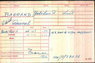 Victor Barrand, Medal Index Card | The National Archive