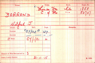 Private Wilfred Barrand's medal index card. | The National Archive