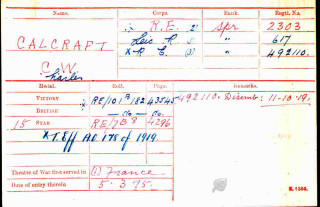 Charles William Calcraft, Medal Index Card | The National Archive