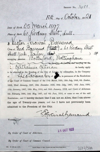 Victor Barrand's application to be admitted to the Company of Spectacle Makers | London Metropolitan Archives