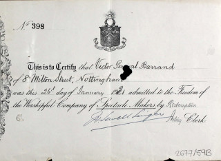 Victor Barrand Certificate of Admission to Company of Spectacle Makers | London Metropolitan Archives