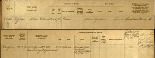 Entry in overseas servicemen's register for Arthur Ogden of Grantham, 1897-1914 | The National Archive