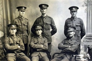 Six Bottesford men who enlisted with the army in 1914. Charles Calcraft is at the rear, in the centre. | Courtesy of Mr Christopher Harris