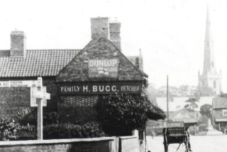 Harry Bugg's butcher's shop, on the Market Place in Bottesford, probably in the 1920s. | From the private collection of Mr Mike Saunders