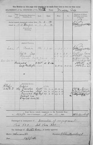 Walter Cox WW1 service record sheet including end of his engagement with the army in 1916. | The National Archive