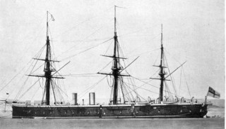 HMS Achilles, built 1861 as an armoured frigate, renamed Egmont in 1904 and employed as a depot ship at Chatham Dockyard. | Wikipedia