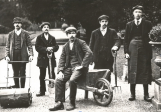 Gardeners at Noseley Hall in Leicestershire apparently just before the war, with Bert a garden boy (on the right of the picture)