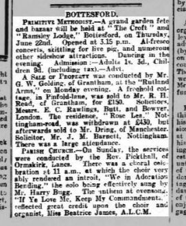 Newspaper article in which Harry Bugg is mentioned as soloist in Bottesford Church choir. | Grantham Journal, 17th June, 1922