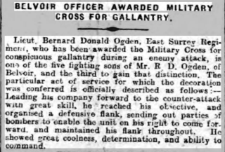 Grantham Journal 16-11-1918 article reporting Lieutenant Ogden's award of the Military Cross. | The British Newspaper Archive