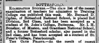 Grantham Journal, 2-6-1906 Examination Success, a place at St Johns, Battersea | The British Newspaper Archive
