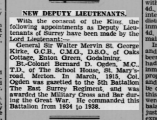Surrey Mirror, 6-2-1942, Bernard Ogden appointed a Deputy Lieutenant of the county. | The British Newspaper Archive