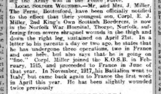 Grantham Journal, 11th May, 1918, article about injuries sustained by Corporal Miller | British Newspaper Archive