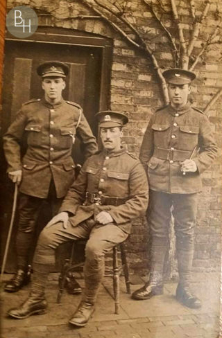 Three of the Kirton brothers in uniform at the family home in Easthorpe during WW1. Left - Frank Kirton, South Notts Hussars; centre - Isaac Kirton, Leicestershire Regiment (later joined the Labour Corps); right - Tom Kirton, Kings Own Yorkshire Light Infantry. | Bottesford Heritage Archive: by permission of Tina Perkins and Kenny Kirton