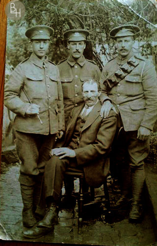 Three of the Kirton in WW1 uniform while at home with their father. Left - Tom Kirton, KOYLI; centre standing - Isaac Kirton, Leicestershires (later Labour Corps); right - Robert Johnson Kirton, RFA; seated - their father, John Kirton. Jonathan d'Hoogue added that,