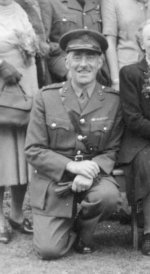 Walter Cox pictured in a group photograph taken on the Rectory lawn during World War 2, probably about 1945. | Private collection of Mr John Goodson