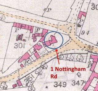 Part of the pre-1900 map of Bottesford parish showing the junction at the West End of the village and the possible location of the Cox's home in 1911. | Bottesford Community Heritage Project