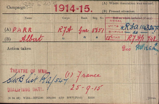 Albert Parr's WW1 Medal Index Card | The National Archive