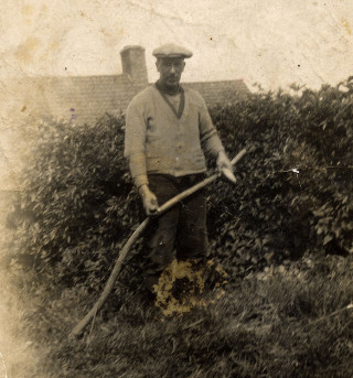 Robert Johnson Kirton, agricultural worker and road labourer, probably near his cottage at Orston   Mrs Tina Perkins