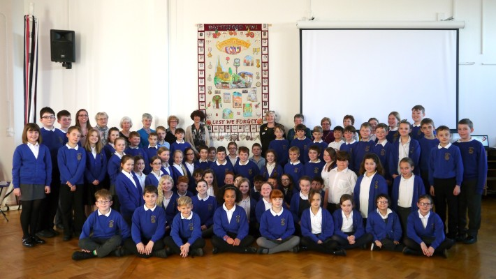 Bottesford Primary School  K2 pupils & teacher (Ms. Moore) with  community volunteers, Sue Rowland (Textile Artist) & Heather Broughton (Heritage Lottery Fund)