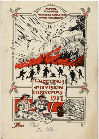 A Christmas Greetings 1917 card send by Private Philip Sutton to his family from the Western Front. | From a private collection