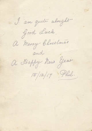 Christmas Greetings 1917 message by Philip Sutton | Private collection