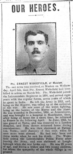 Pte. Ernest Wakefield 's Obituary, Grantham Journal 15th April 1916   Courtesy of the Grantham Journal