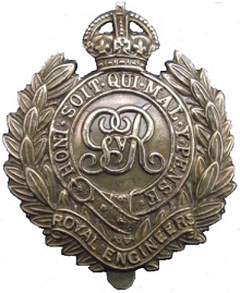 Royal Engineers cap badge from WW1