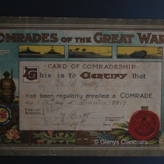 Harry Harby's certificate as a Comrade of the Great War   (Glenys Claricoats)