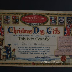 The Christmas Club 1915 Certificate marking Florrie Harby's part in collecting gifts for the soldiers.   (Glenys Claricoats)