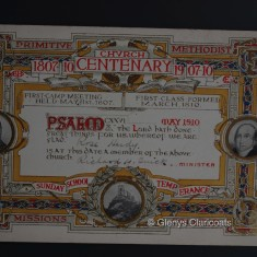 Certificate marking Rose Harby's membership of the Methodist Church in 1910.   (Glenys Claricoats)