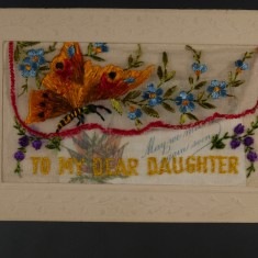 Silk postcard brought from France by Harry Harby | Glenys Claricoats