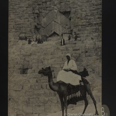 1915 / 1916 Man on camel beside the Grand Pyramid at Cheops | (Glenys Claricoats)