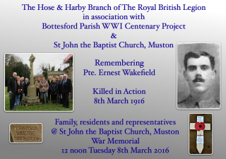 Family members, Muston residents, representatives of the Bottesford Parish WW1 Centenary Project and the Hose and Harby Branch of the Royal British Legion marking the centenary of the loss of Pte. Ernest Wakefield on the 8th March 2016