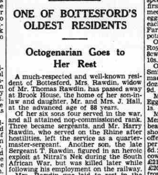 Extract from the report of Sarah Rawdin's funeral, from the Grantham Journal, 29th May,1937 | British Newspaper Library
