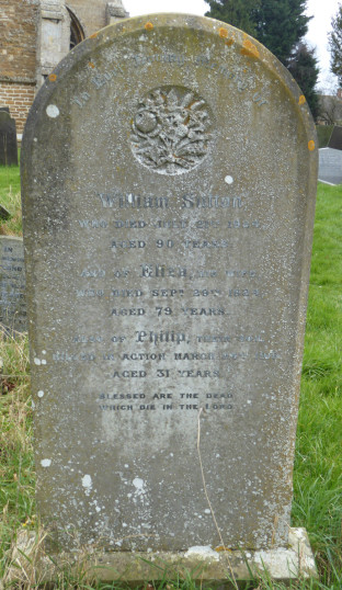 Headstone in St Mary's churchyard, Bottesford. The caption reads: William Sutton, who died July 21st 1924, aged 90 years, and of Eliza, his wife who died September 29th 1924, aged 79 years. Also of Philip, their son, Killed in Action March 24th 1918, aged 31 years.