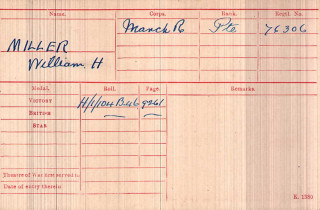 Medal Index Card, Pte William Hedley Miller, 2nd Bn, Manchester Regiment | The National Archive