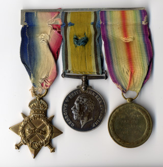 Robert Johnson Kirton W1 Service Medals   Photo by Neil Fortey, medals belonging to Mrs Tina Perkins