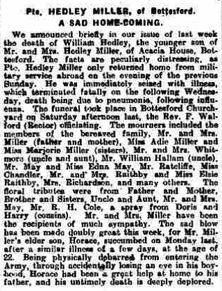 Grantham Journal 15/2/1919: A Sad Homecoming - death of Pte William Hedley Miller. | British Newspaper Archive