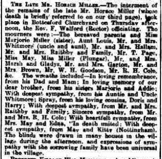 Grantham Journal 15/2/1919: obituary report of the funeral of Horace Miller. | British Newspaper Archive