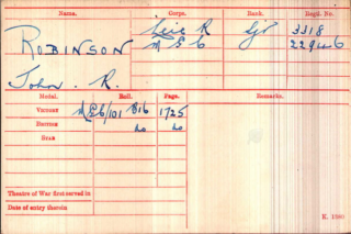 John R. Robinson's Medal Index Card | National Archive