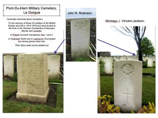 The Pont-Du-Hem Military Cemetery, La Gorgue. John Richard Robinson and Montagu John Vincent-Jackson