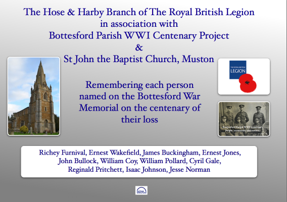 Remembering those from Bottesford & Muston at the centenary of their loss
