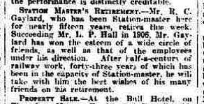Grantham Journal 2nd April 1921 - Retirement of stationmaster Richard Charles Gaylard | British Newspaper Archive